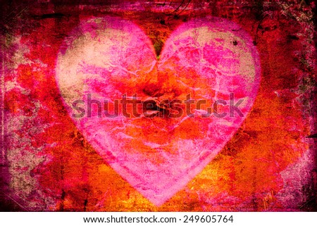 Heart on fire grunge background - stock photo