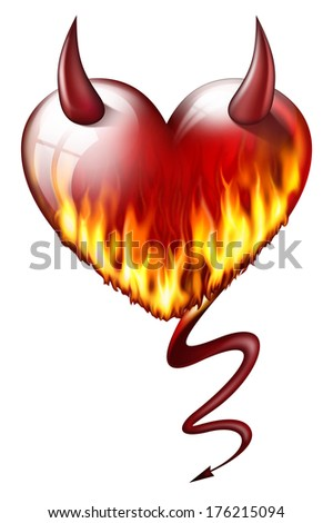 heart on fire, with devil attributes, isolated on white background  - stock photo