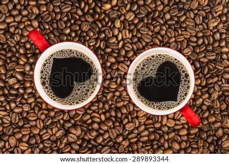 Heart on the Coffee Cup - stock photo