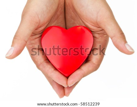 Heart on the palm - love symbol