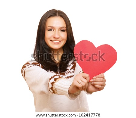 Heart on the palm - love symbol isolated on white background