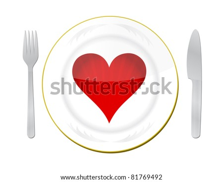 heart on the plate with fork and knife