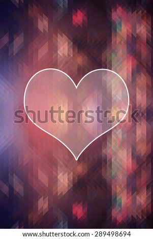 heart on triangle colorful abstract background, love concept - stock photo