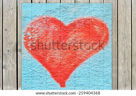 Heart on wall - stock photo