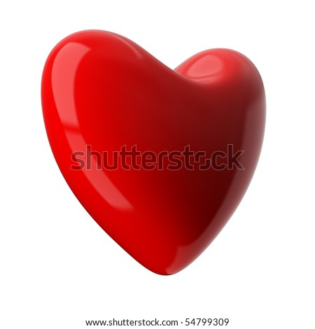 heart on white background. Isolated 3D image - stock photo