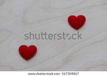 Heart on wood background, love valentine concept with empty space for text