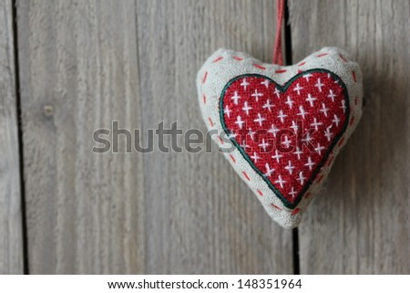 Heart on wood Valentines Day - stock photo