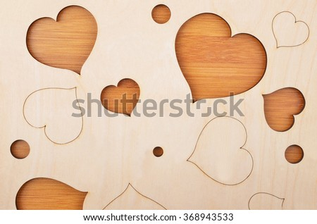 Heart on wooden background, card for Valentine's day