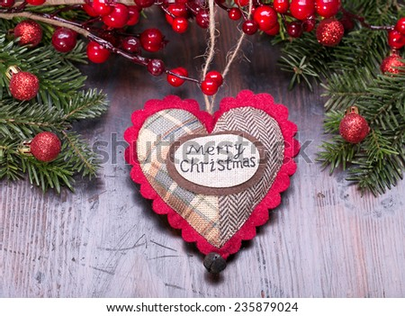 heart on wooden background , christmas heart  - stock photo