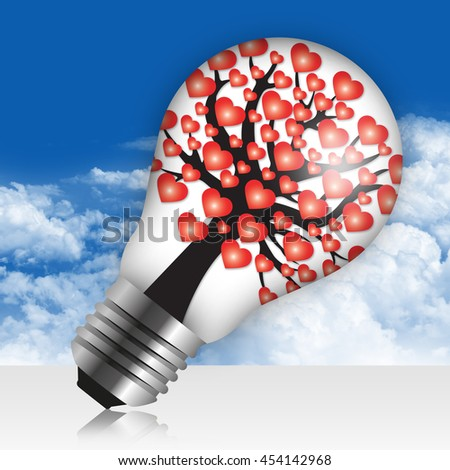 Heart or Love Tree Icon Inside Light Bulb in Blue Sky Background - stock photo