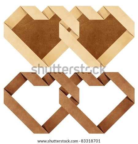 heart origami recycled paper craft - stock photo