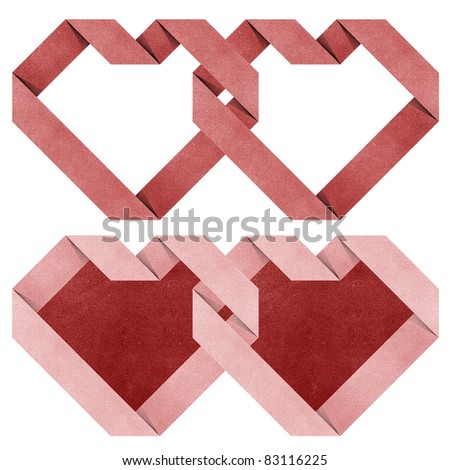 heart origami recycled paper craft stick on white background - stock photo