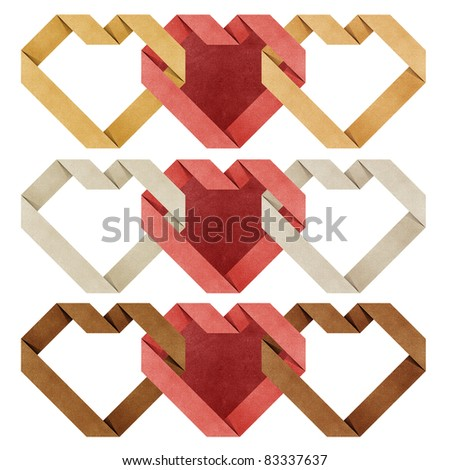 heart origami recycled papercraft ( black , white , yellow ,red  ) - stock photo