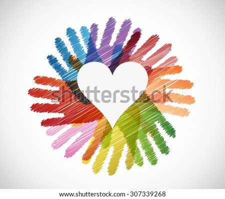 heart over diversity hands circle illustration design concept - stock photo
