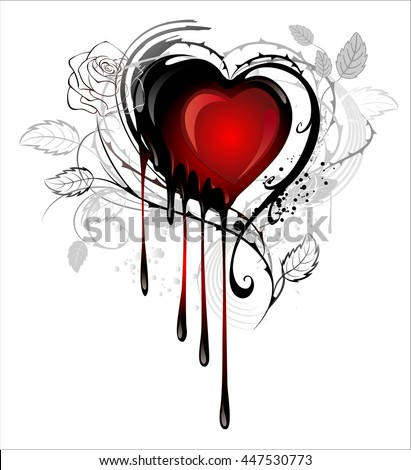 Heart Painted Black And Red Paint Decorated With Spiky Stalks Of Roses On White Background
