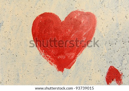 Heart painted on grunge wall