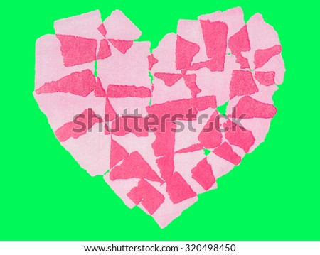 Heart paper abstact Isolated on green screen chroma key background. - stock photo