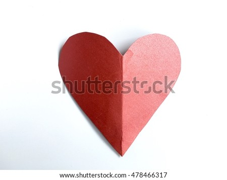 Heart paper on white background