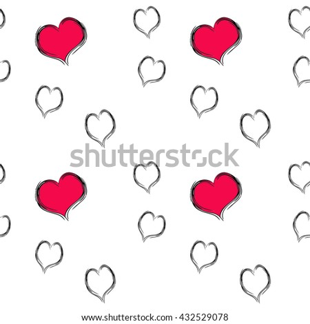 heart pattern seamless - stock photo