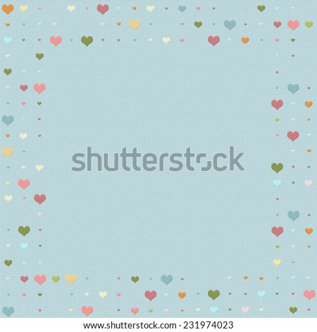 Heart patterned frame/border with multicolored hearts