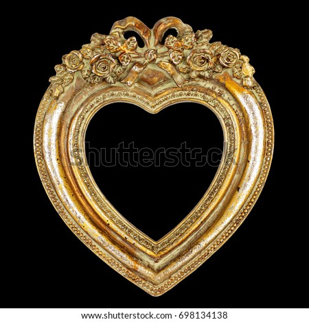 Heart Picture Frame isolated on black background, graphic design element