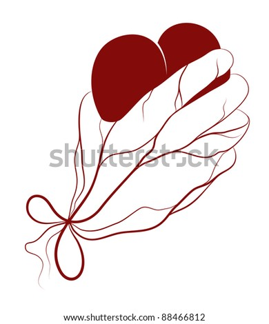 Heart present in a hand. Raster variant. - stock photo
