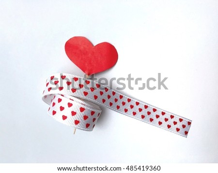 Heart print ribbon,heart icon on a white background.