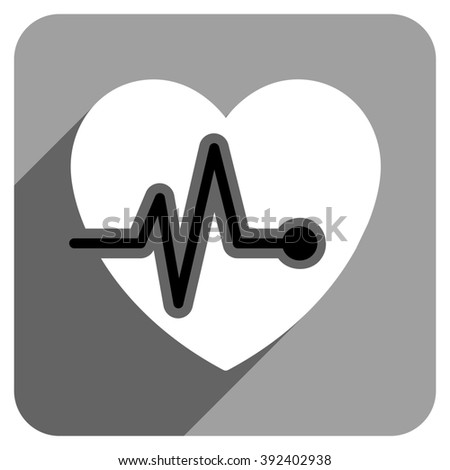 Heart Pulse long shadow glyph icon. Style is a flat heart pulse iconic symbol on a gray square background. - stock photo