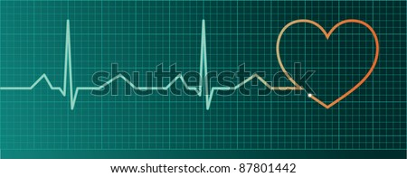 Heart pulse monitor with red heart shape - raster version - stock photo