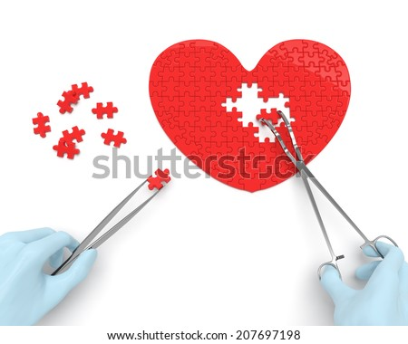 Heart puzzle and hands of cardiac surgeon with surgical instruments - stock photo