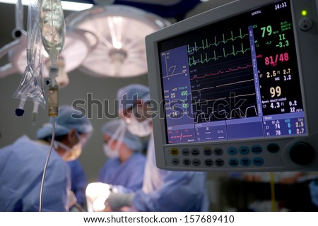 heart rate monitor in hospital theater - stock photo
