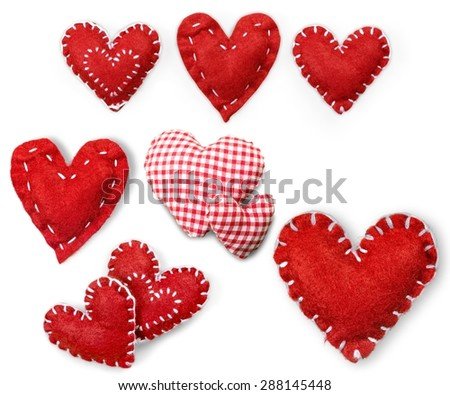 Heart, red, fabric. - stock photo