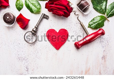 heart, red rose, chocolate , key and corkscrew on white wooden, love background, top view, place for text  - stock photo