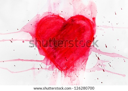 Heart, red watercolor hand painted background - stock photo
