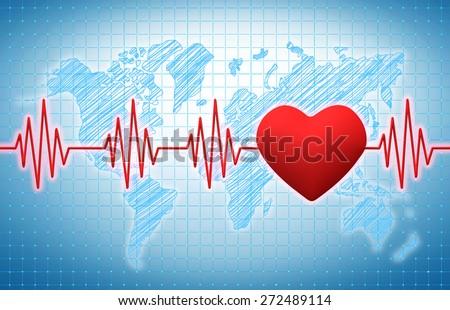 Heart rhythm on a blue medical background - stock photo