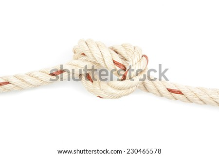 heart rope knot isolated on white background - stock photo