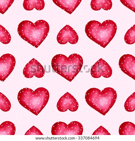 Heart seamless pattern, Watercolor Love background.