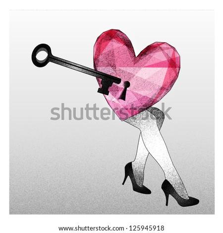 Heart secret fall in love - stock photo