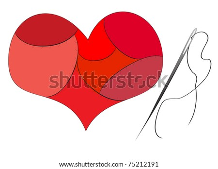 heart sewn together - stock photo