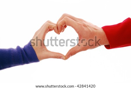 Heart shape being made by female and male hands together on white background - stock photo