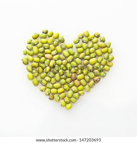 heart shape by mung beans. love green and organic.