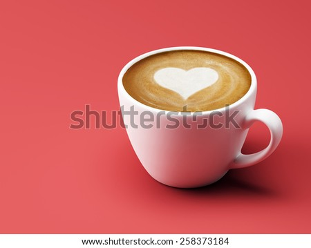 Heart Shape Coffee Cup Concept isolated on red background