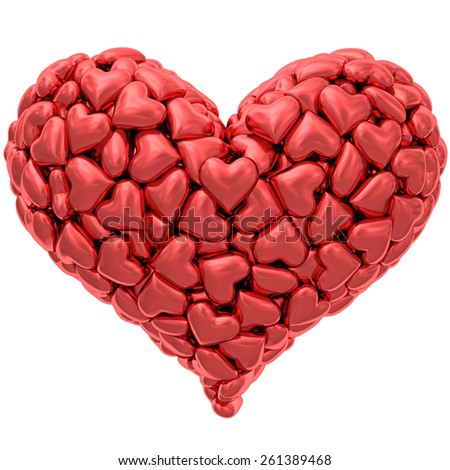 Heart shape composed of many red hearts isolated on white. High resolution 3D image - stock photo