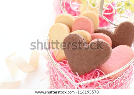 Heart shape cookie in gift box for valentine day image