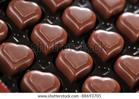 Heart shape delicious chocolate in box  close-up - stock photo