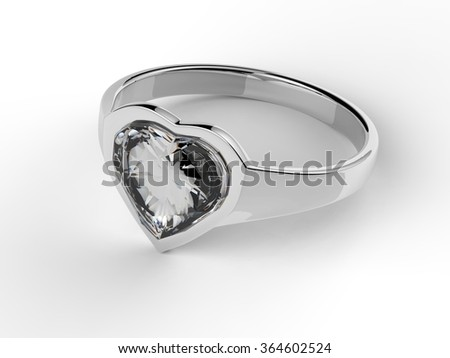 Heart shape diamond gemstone solitaire silver engagement ring - stock photo