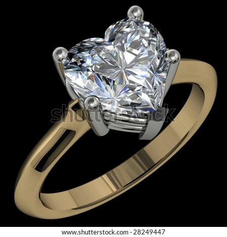 heart shape diamond two tone solitaire engagement ring on black