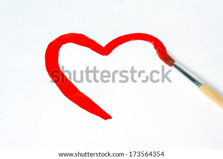 Heart shape drawn brush with red paint