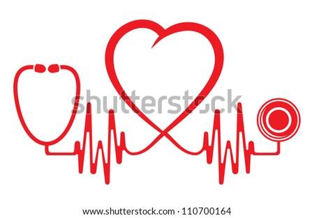 Heart shape ECG line with stethoscope - stock photo