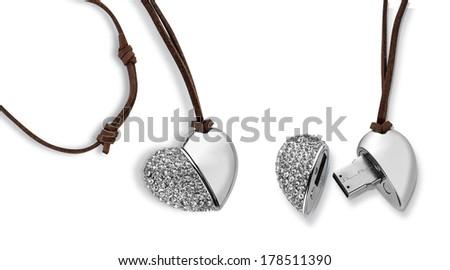 Heart shape flash drive - stock photo